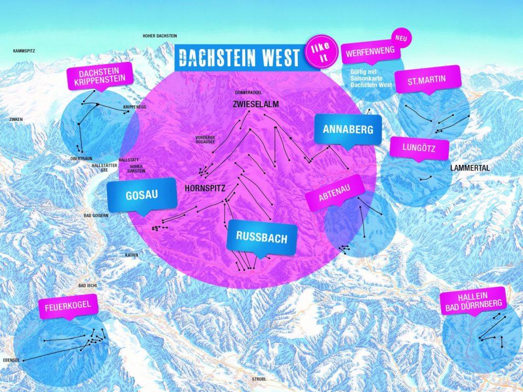 Dachstein Karte.1 Karte 7 Skigebiete Karkogel